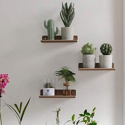 Voglee Floating Wall Mounted Shelves, 3 Set of Wood Hanging Shelves Display Ledge for Bedroom Of ...