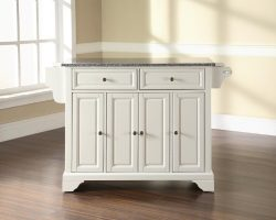 Crosley Furniture LaFayette Kitchen Island with Solid Grey Granite Top – White