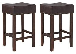 Ravenna Home Lisetta Nailhead Saddle Bar Stool, 15.75″W, Espresso with Dark Brown Faux Lea ...