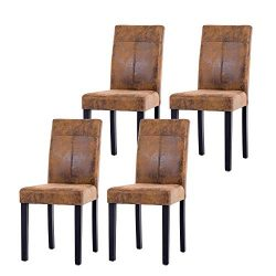 NOBPEINT Urban Style Solid Wood Leatherette Padded Parson Chair, Brown, Set of 4