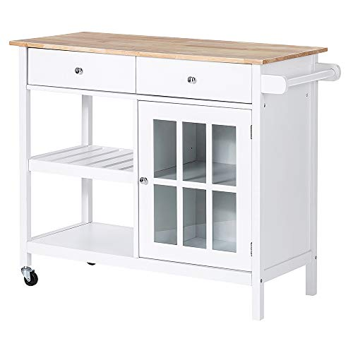 ChooChoo Rolling Kitchen Island, Portable Kitchen Cart Wood Top Kitchen Trolley with Drawers and ...