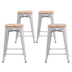Buschman Metal Bar Stools 24″ Counter Height, Indoor/Outdoor, Stackable, Set of 4 (Regular ...