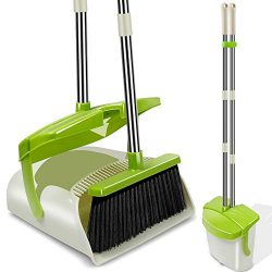 Kelamayi Broom and Dustpan Set with Lid, Long Handle Stainless Steel & Light Weight Lobby Br ...
