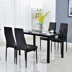 Bonnlo 5 Pieces Dining Set Black Dining Table and Chairs Set for 4 Persons,Kitchen Room Glass Ta ...