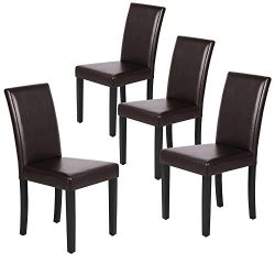 Yaheetech Dining Chair Living Dining Room PU Cushion Diner Chair Kitchen Dining Chairs with Soli ...