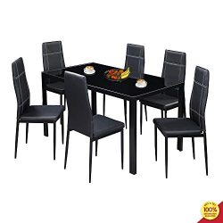 MOOSENG, 7 PCs Dining Furniture Set, with Glass Table Top and 6 Leather Chairs, Perfect for Kitc ...