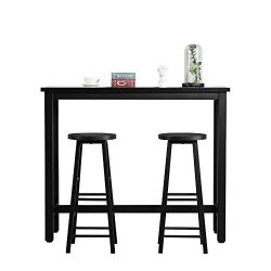 Mooseng Pub Table Set 3 Pcs Dining Table and Chairs Set, Bar Table with 2 Bar Stools,Stable Stru ...
