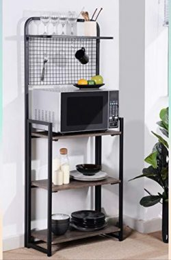 4-Tier Shelves Black Metal Dark Brown Finish Shelf Kitchen Bakers Rack Microwave Stand Foldable  ...