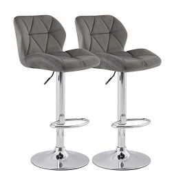 KYOTECH Modern Flannel Adjustable Swivel Bar Stools with Back, Set of 2, Home Kitchen Counter Ba ...