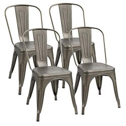 Flamaker Metal Dining Chairs Stackable Kitchen Dining Chairs Metal Chairs Bistro Cafe Side Chair ...