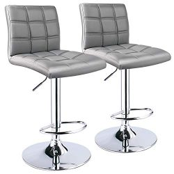 Leopard Square Back Adjustable Bar Stool, Set of 2, Light Grey