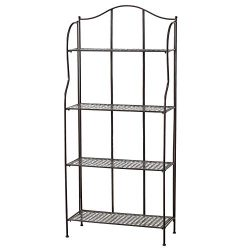WHW Whole House Worlds Farmers Favorite Bakers Rack, Rustic Bronze Toned Iron, for Indoor and Ou ...