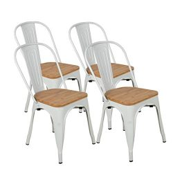 BONZY HOME Metal Dining Chairs with Wood Seat, Bistro Side Chair, Stackable Kitchen Chairs with  ...