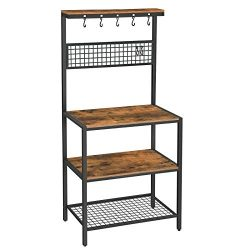 VASAGLE ALINRU Kitchen Bakers Rack Cupboard with 10 Hooks, Mesh Panel, 3 Shelves, and Adjustable ...