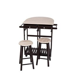 3PCS Dinning Set Table Rolling Kitchen Island Trolley Cart Set Breakfast Bar Cart Drop-Leaf Fold ...