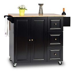 Urest Kitchen Cabinet/Kitchen Island/Kitchen Cart,Rolling Cart with Leaf Drop,Spice Rack, Towel  ...