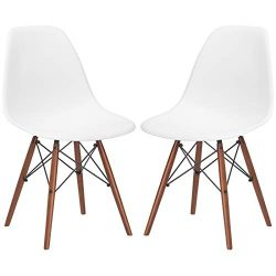 Poly and Bark Vortex Modern Mid-Century Side Chair with Wooden Walnut Legs for Kitchen, Living R ...
