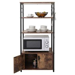 Iwell Kitchen Baker's Rack with 1 Cabinet and 8 Hooks, 4-Tier Utility Storage Shelf, Micro ...