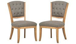 Stone & Beam Bergen Tufted Kitchen Dining Room Table Farmhouse Chairs, 36.8″H, Set of  ...