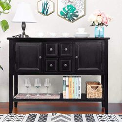ALI VIRGO Buffet Sideboard Console Table Sofa Entry Desk with 4 Storage Drawers Two Cabinets and ...