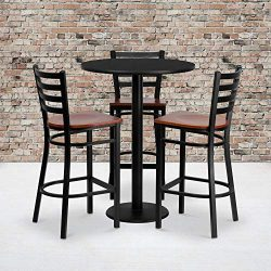"Flash Furniture 30"" Round Black Laminate Table Set with 3 Ladder Back Metal Barstools R ..."