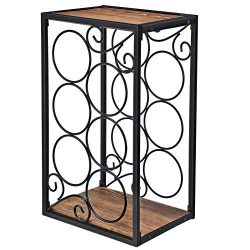 SONGMICS 6-Bottle Wine Rack, Freestanding Wine Holder with Solid Wood Top, for Countertop, Table ...