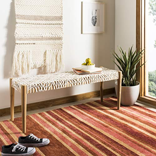 Safavieh Home Collection Bandelier Bench, Off- Off-White/Natural