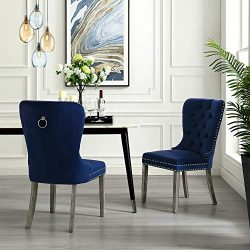 InspiredHome Navy Velvet Dining Chair – Design: Brielle | Set of 2 | Tufted | Ring Handle  ...