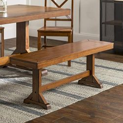 WE Furniture Rustic Farmhouse Wood 3 Person Dining Bench, 48 Inch, Antique Brown