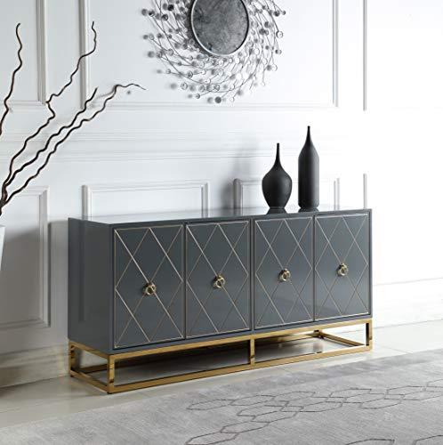 Best Master Furniture Tabitha High Gloss Lacquer Sideboard/Buffet, Grey
