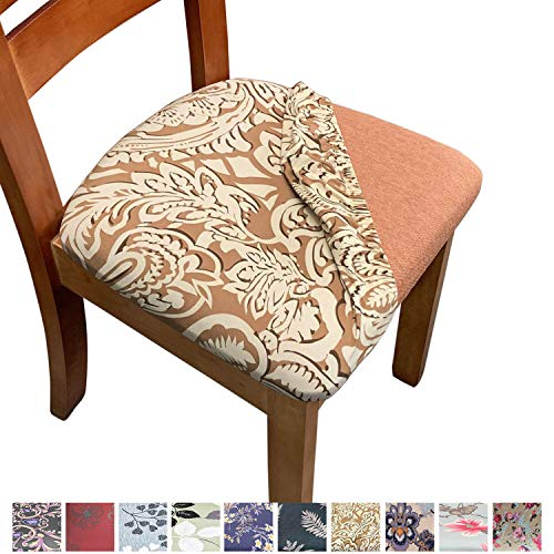 Melaluxe Stretch Printed Dining Room Chair Seat Covers, Removable Washable Anti-Dust Upholstered ...