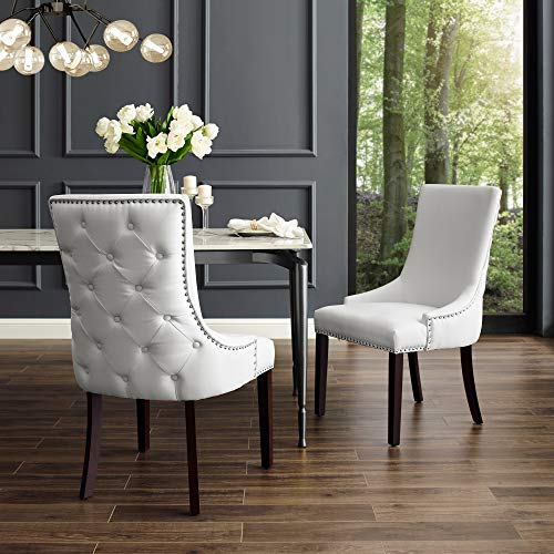 InspiredHome White Leather Dining Chair – Design: Oscar | Set of 2 | Back Tufted | Nailhea ...