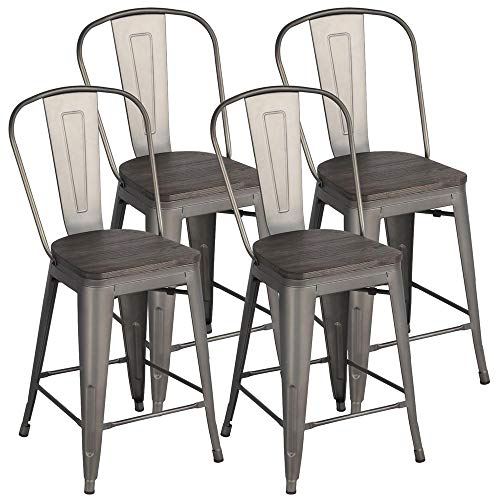 Topeakmart Set of 4 Gunmetal Wooden Seat 24 Inch Counter Height Metal Bar Stools Kitchen Chairs  ...