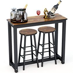 Tribesigns 3-Piece Pub Table Set, Counter Height Breakfast Bar Dining Table Set with 2 Bar Stool ...