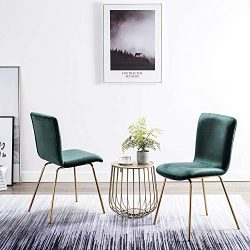 Art-Leon Mid-Century Modern Simple Retro Velvet Fabric Leisure Upholstered Dining Chairs Set of  ...