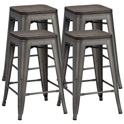 Yaheetech 24 inches Metal Bar Stools Counter Stool Indoor/Outdoor Stackable Barstools Counter Wo ...