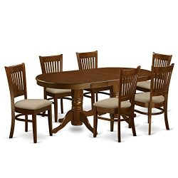 VANC7-ESP-C 7 Pc Dining room set Table with Leaf and 6 Dining Chairs