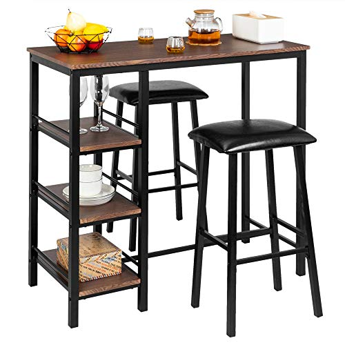Bonnlo 3-Piece Counter Height Dining Table Set Kitchen Dining Pub Bar Table with 2 Upholstered S ...