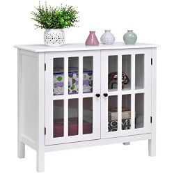 Custpromo Storage Buffet Cabinet Glass Door Sideboard Console Table Kitchen Dining Room Furnitur ...
