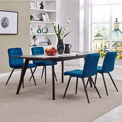 Modern Velvet Dining Chairs, Tufted Accent Upholstered Chairs for Living Room/Kitchen/Vanity/Pat ...