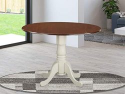 East West Furniture Dublin Round Table with two 9″ Drop Leaves – Mahogany and Linen  ...