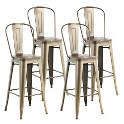 "mecor Metal Set of 4 Bar Stools w/Removable Backrest, 30"" Dining Counter Height Chairs wit ..."