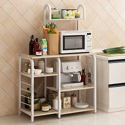 Mifelio 35.5″Kitchen Baker's Rack Utility Storage Shelf Microwave Stand 4-Tier 3-Tie ...