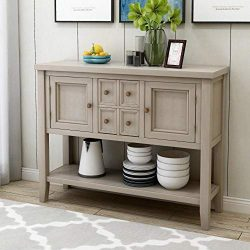 Harper & Bright Designs Buffet Table Kitchen Storage Buffet and Sideboard Console Tables wit ...