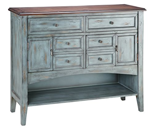 Stein World Furniture Hartford Buffet/Server, Distressed Moonstone Antique Blue/Wood Tone