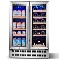 Aobosi 24 Inch Beverage and Wine Cooler Dual Zone, 2-IN-1 Wine Beverage Refrigerator with Indepe ...
