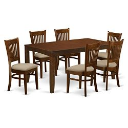 LYVA7-ESP-C 7 Pc Dining Table with a 12″ Leaf and 6 Cushion Kitchen Chairs