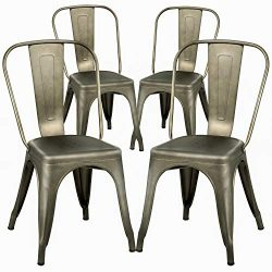 FDW Dining Chairs Set of 4 Metal Chairs Patio Chair Dining Room Kitchen Chair 18 Inches Seat Hei ...