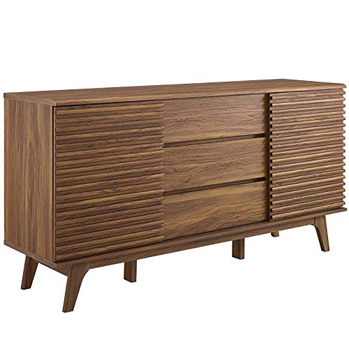 Modway Render 63″ Mid-Century Modern Sideboard Buffet Table or TV Stand in Walnut