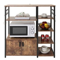 usikey Kitchen Baker's Rack Microwave Oven Stand with 2 Door and 5 Utility Storage Shelves ...